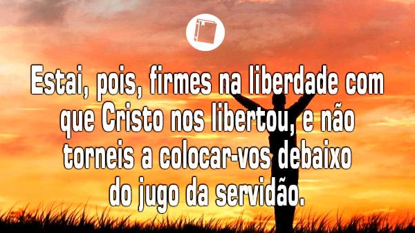 """Gálatas 5:1 - """"Estai, pois, firmes na liberdade com que Cristo nos libertou, e não torneis a colocar-vos debaixo do jugo da servidão""""."""